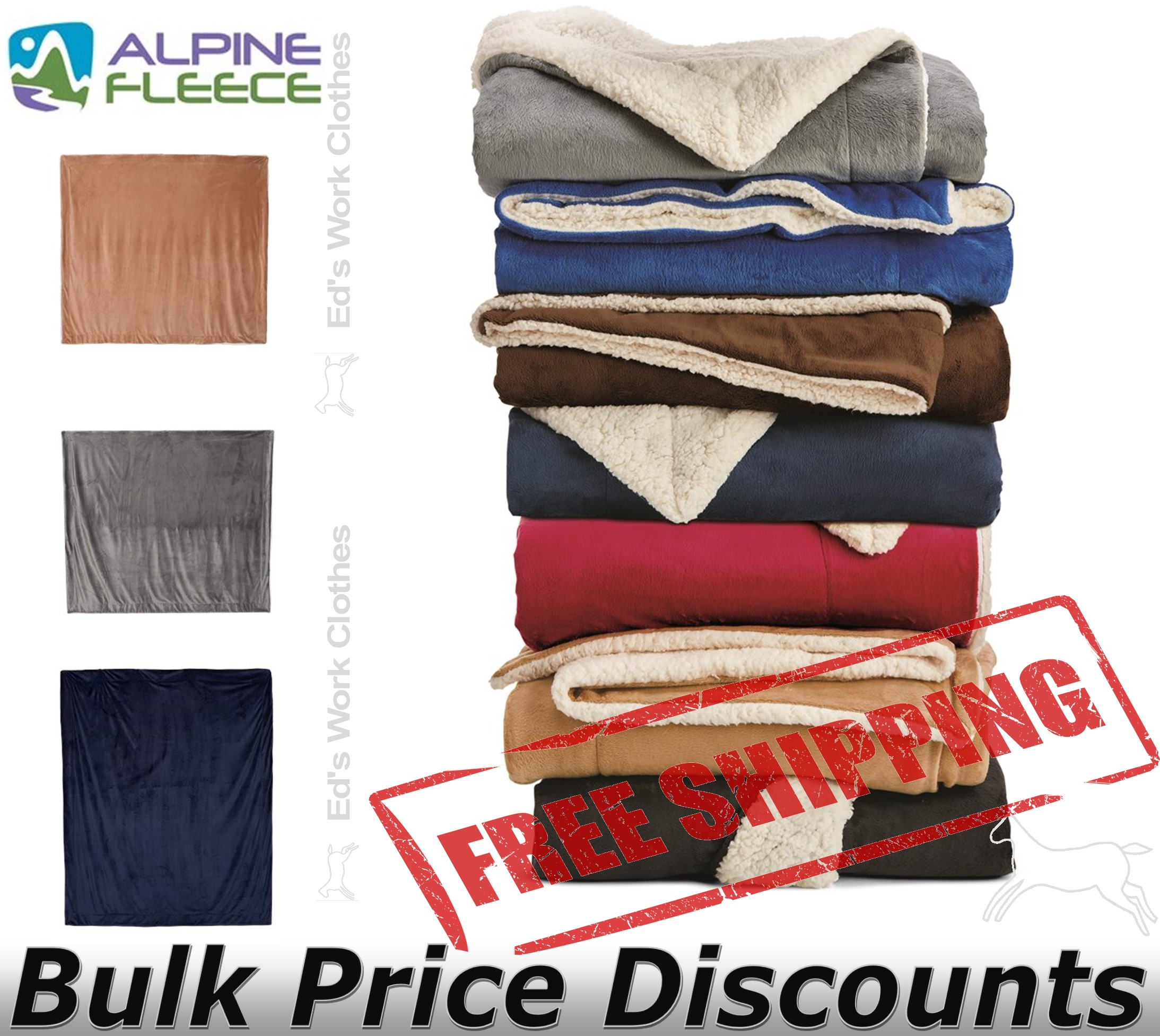 """Alpine Fleece Oversized Mink Sherpa Blanket 8726 60"""" x 72"""""""