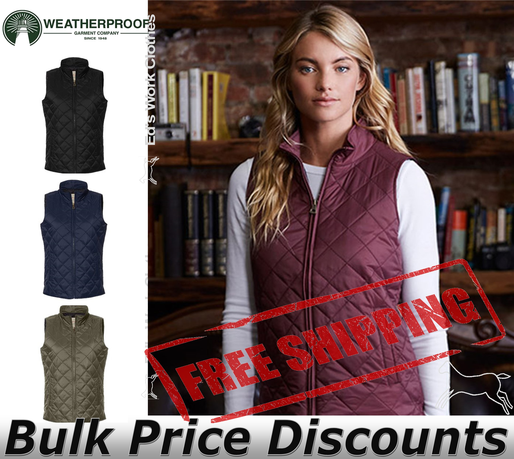 Weatherproof Brand Women's Vintage Diamond Quilted Vest W207359 up to 2XL